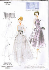 Vtg 50s Retro Formal Dress Gown Rockabilly Vogue Sewing Pattern Sz 6 8 10 12 14