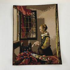 Vintage Royal Paris Vermeer Needlepoint Completed Art Work Girl Reading Letter