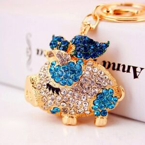 Fashion Women Pig Shaped Keychain Crystal Keyring Handbag Charm