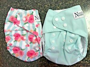 2 Nora's Nursery Cloth Diapers Pocket Diapers EUC
