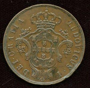 1865 Azores 20 Reis Coin
