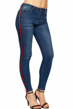 Machine Washable Striped Regular Size Jeans for Women