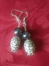 Polymer clay earring, stone 15x13mm silver plated, haematite bead . hook (276)