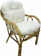 sedia poltrona in vimini con cuscino ecru