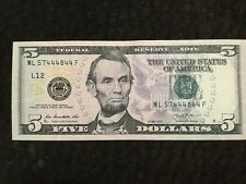 $5 Dollars Bill 5/8 Solid 4's Serie 2013 (San Francisco) Fancy Serial # 57444844