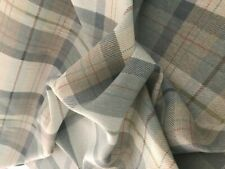 100% cotton linen fabric munro check beige blue  free p&p  curtain upholstery