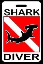 Hammerhead Shark Diver SCUBA Diving Luggage/Gear Bag Tag - New