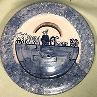 "NOAH'S ARK VINTAGE 1992 STONEWARE POTTERY Plate ARTIST SIGNED CMP MARTHA 9.5"""
