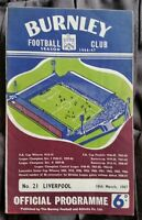 Burnley v Liverpool Programme 18/03/67