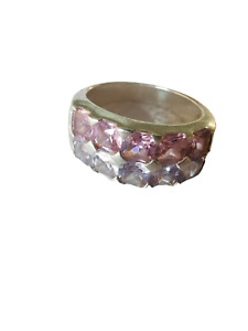 Vintage Sterling Silver Pink & Lilac CZ Stones Ring. Size L.