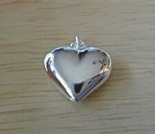 Sterling Silver 3D 15x14mm Hollow Puffy Heart Charm