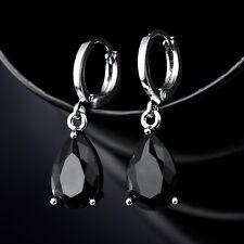 Couple Anniversity Gift Black Swarovski Crystal White Gold Filled Dangle Earring