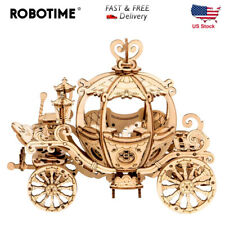 Robotime DIY Movable 3D Wooden Cinderella Pumpkin Carriage Cart Model 182pcs Kit