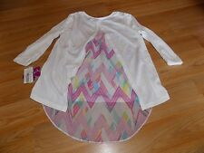 Size Medium 10-12 Forever Orchid Ivory 3/4 Sleeve Hi Low Shirt Top Multi Color