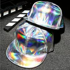 Unisex Mens Hologram Baseball Caps Rainbow Reflective Hat Snapback Adjustable