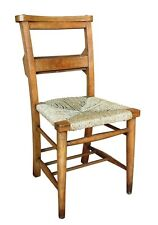 Antique Church Chairs - Traditional Old Rush Seated Chapel Chairs - Dining Seat