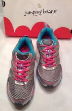 NEW JUMPING BEANS ATHLETIC SNEAKERS Turquoise & Pink SHOES GIRLS Sz 3 Ships Free