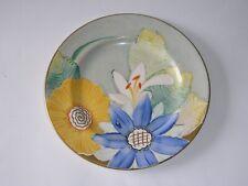 More details for original gray's pottery art deco plate - floral & gilt handpainted - a3084.