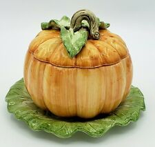 Retired Fitz and Floyd 16oz Pumpkin Covered Soup Bowl w Saucer Fall Thanksgiving