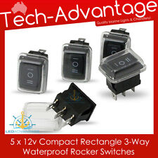5 X 12V COMPACT 3-WAY ON/OFF/ON GEL COVER ROCKER SWITCHES - BOAT/CARAVAN/4X4
