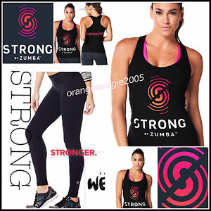 ZUMBA  STRONG INSTRUCTOR Racerback Tank + Leggings 2 Pieces FREE SHIP WORLDWIDE