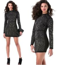NWT bebe black silver studd stud embellished quilted irridescent top dress XS