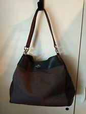 COACH 57540 LEXY LEGACY Black/Brown Leather & JACQUARD SHOULDER BAG