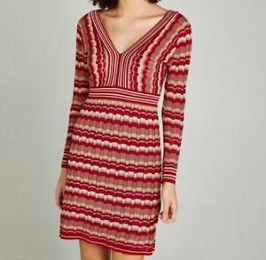 Apricot Ladies 70's Style Retro Stripe Knitted V-Neck Back Dress Size UK10 BNWT
