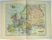Original 1895 Map of Europe by  W & A.K. Johnston. Antique