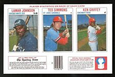 Lamar Johnson & Ted Simmons & Ken Griffey 1979 Hostess 3-Player Baseball Panel