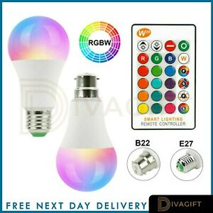 B22 E27 RGB Bulb Led Light 16 Colour Changing Remote Control Bayonet Screw Lamp