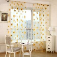 Sunflower Print Window Door Curtain Tulle Curtains for Living Room Decor (Yellow