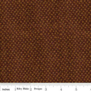 1 yd Riley Blake STACY WEST WOVEN WOOL DOT Diamond BROWN GOLD 100% Woven Wool
