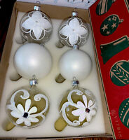 Vintage Hand Painted In Poland Glass Christmas Ornaments Gorgeous White Flowers!