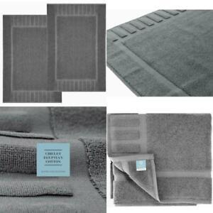 """White Classic Luxury Bath Mat Floor Towel Set - 100% Cotton 22""""x34"""", 2 Pack"""