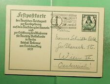 DR WHO 1935 GERMANY DRESDEN SLOGAN CANCEL POSTAL CARD TO AUSTRIA  g21409