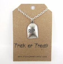"Halloween ""Trick or Treat"" RIP Gravestone Silver Plated Message Card Necklace"