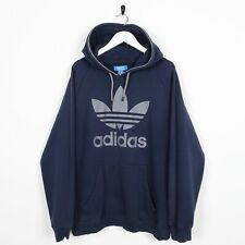 Vintage ADIDAS ORIGINALS Big Logo Hoodie Sweatshirt Navy Blue Large L