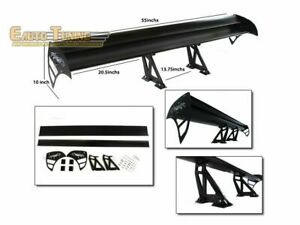 GT Wing Type S Aluminum Universal Double Deck Rear Spoiler BLACK For Acura