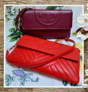 NWT TORY BURCH ALEXA Clutch Crossbody Bag IMPERL GARNET or POPPY ORANGE Leather
