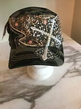Green Camouflage Military Army Cadet Cap Hat Sparkle Cross Sequin Rhinstone NWT