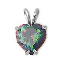 Silver Pendant with Cubic Zirconia Rainbow Heart Product Size 16 mm (0.61 inch)