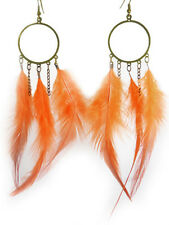 F1356 vogue Feather charm circle chain cute dangle chandelier earrings