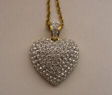 "Signed Swaroski Pave Rhinestone Valentine Heart Pendant on 32"" Goldtone Chain"