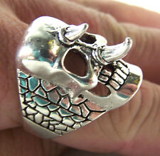 2 Spiked Nose Skull Rings heavy metal biker ring Br16 bikers fashion jewelry