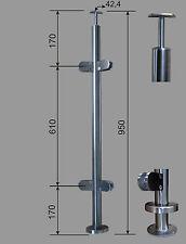 Edelstahl Geländer Pfosten RR 42,4  mit Eck Glashalter 90° V2A