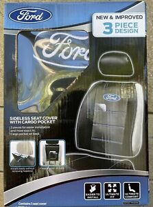 Ford Logo Deluxe Premium  Sideless Seat Cover W/ Cargo Pocket Set