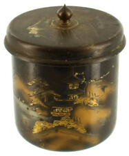 Antique Bronze Damascene Tea Caddy Caddie Trinket Jar Japan Mt Fuji Cylindrical