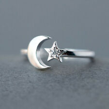 925 Silver CZ Moon and Star Rings Women Wedding Jewelry Open Adjustable Ring