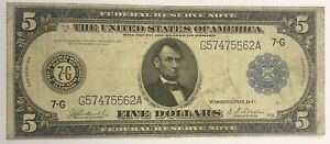 1914 $5 FEDERAL RESERVE NOTE, CHICAGO, FR-870, FINE+!